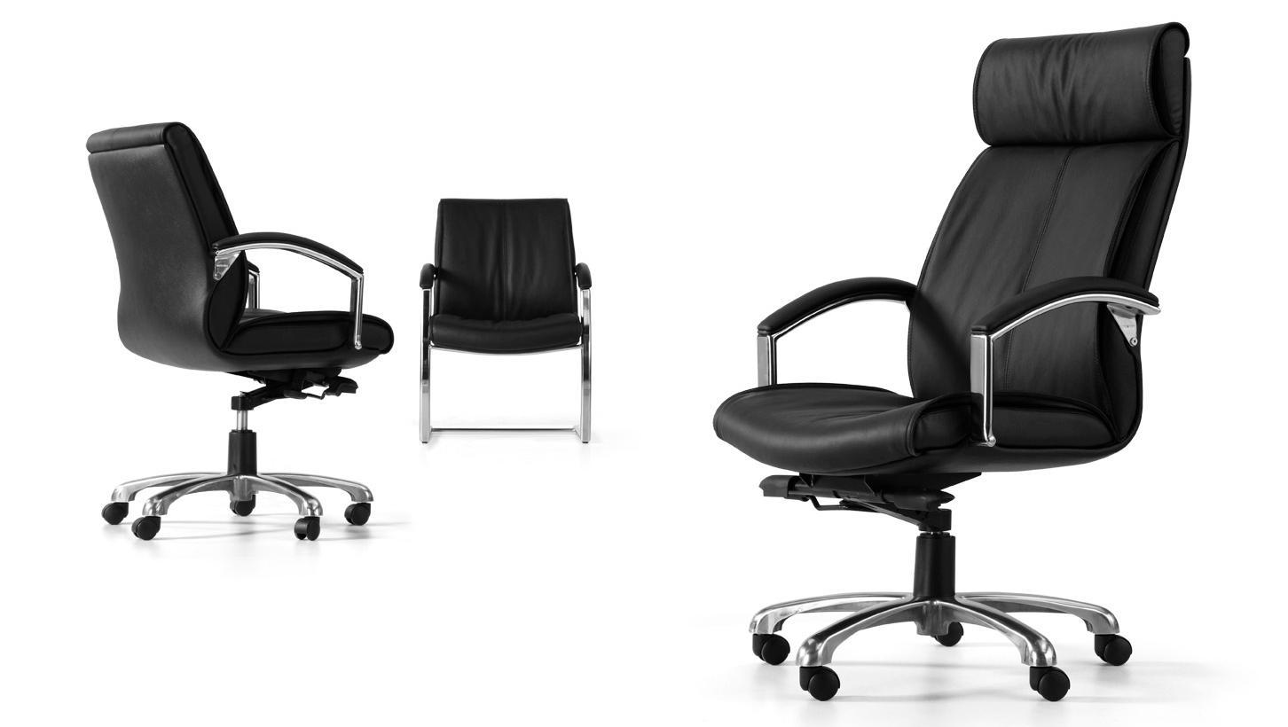 黑色升降调节高度老板办公椅带轮子扶手