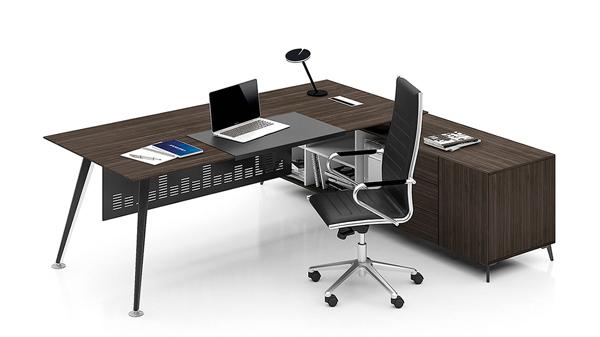 黑色简约现代单人板式钢木经理办公桌定制