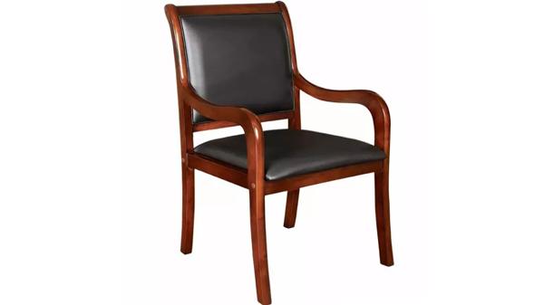 新中式靠背木扶手PU实木办公椅