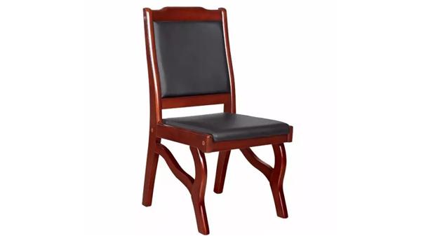新中式真皮靠背木扶手实木加皮办公椅