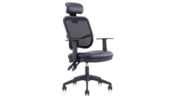 黑色升降调节高度网布电脑椅子转椅带轮子