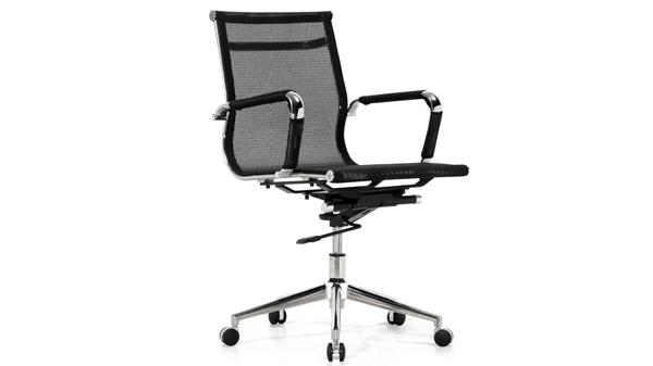 黑色网布升降调节高度电脑椅子转椅带轮子