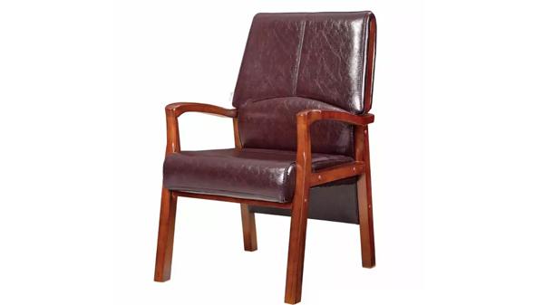 新中式真皮靠背木扶手实木办公椅会议椅价格