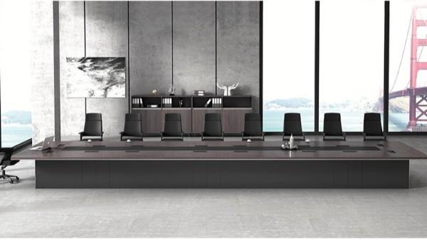 现代高档大型多功能长条18人油漆实木会议桌定制