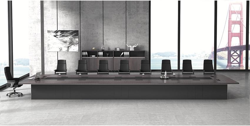 现代高档大型多功能长条油漆实木会议桌定制