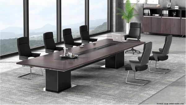 现代时尚长条10人实木油漆会议桌