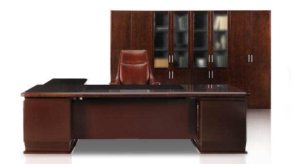 新中式高端实木老板办公桌椅大班台