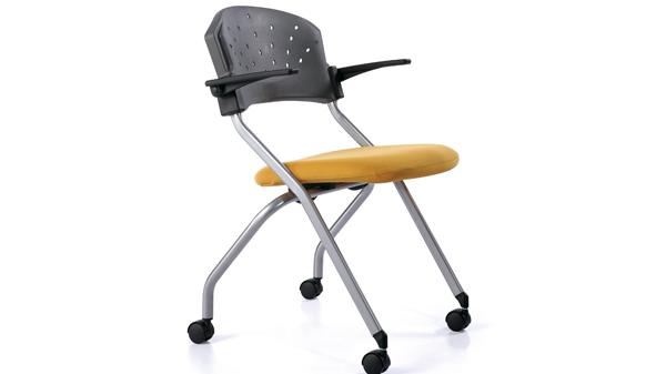 移动折叠塑料培训会议椅带扶手
