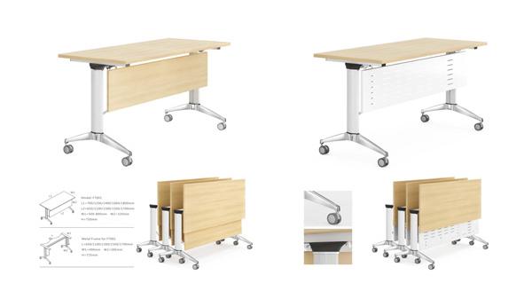 简约简易长条形可移动钢架折叠会议桌培训桌课桌