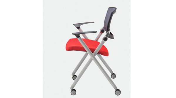 移动网布折叠椅会议椅带扶手
