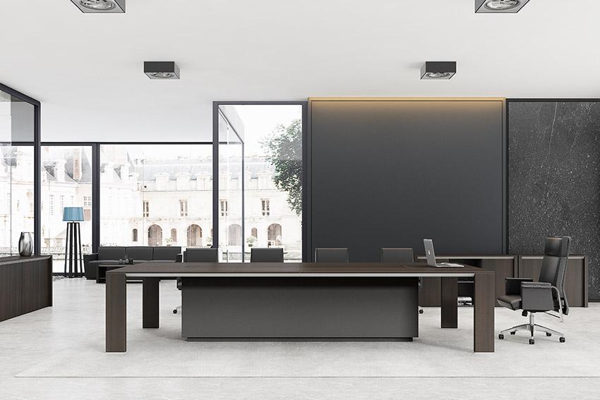 现代简约长条10人油漆实木会议桌厂家直销