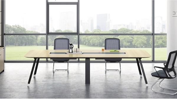 现代时尚简约长条4人板式钢架会议桌洽谈桌