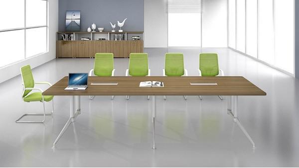 现代简约长条10人板式钢架会议桌洽谈桌