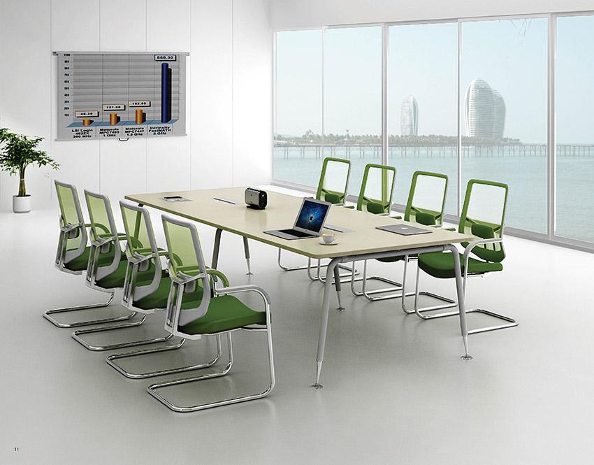 现代时尚简约长条10人板式钢架会议桌厂家