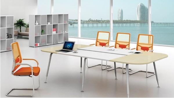 现代时尚简约椭圆8人板式钢架会议桌洽谈桌