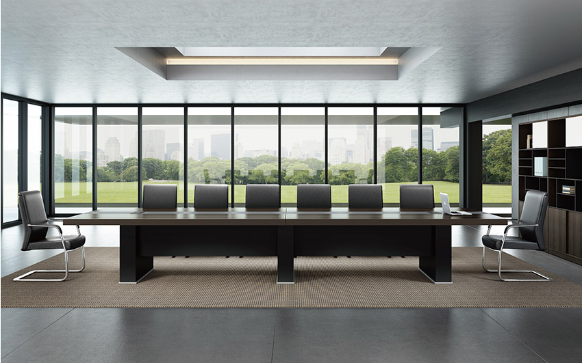 现代简约长条14人实木油漆会议桌会议台洽谈桌图片定做