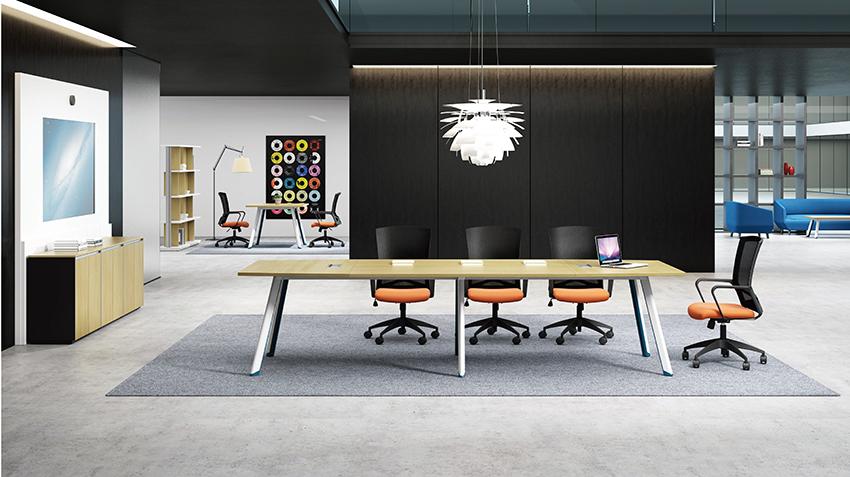 现代时尚简约长条10人板式钢架会议桌