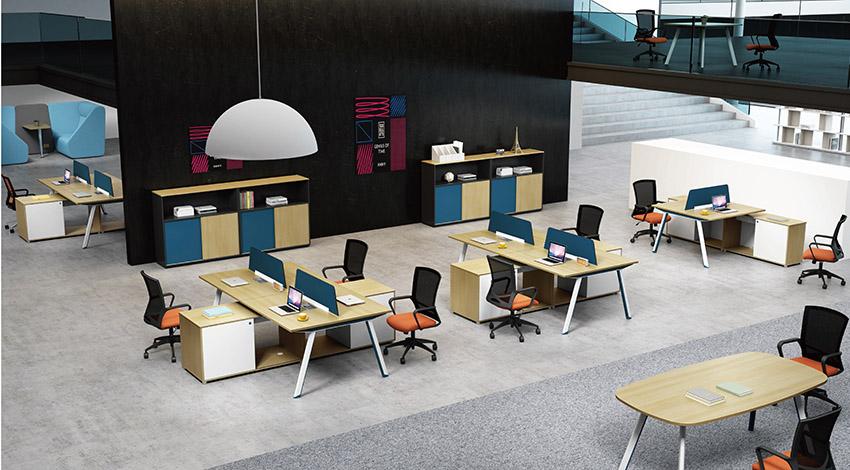 现代时尚四人屏风办公桌隔断工作卡位带边柜定制