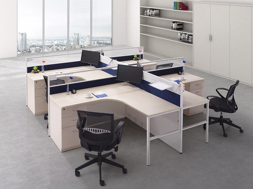 现代简约转角四人屏风隔断办公桌 屏风工作位 屏风卡位厂家定制