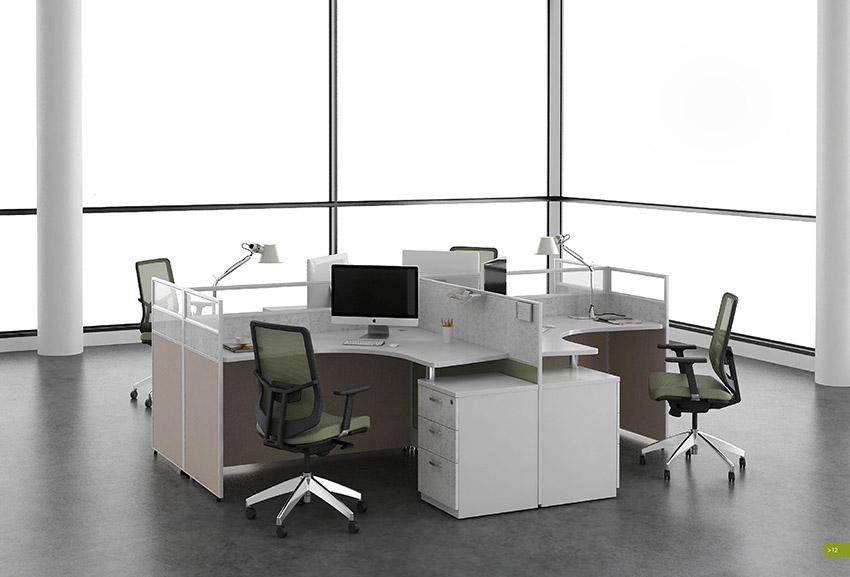 简约转角四人屏风办公桌隔断 屏风工作位 屏风卡位 厂家价格定制