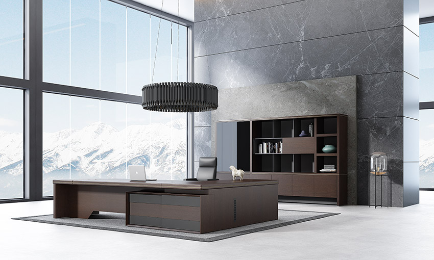 现代时尚高端实木老板办公桌椅大班台