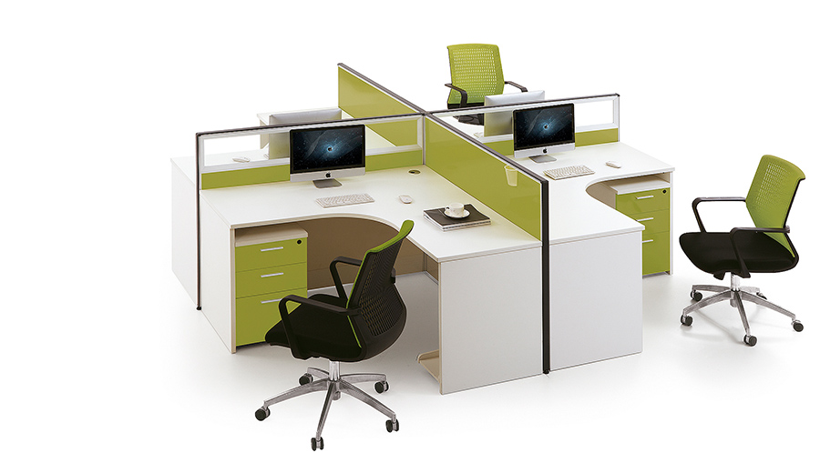 绿色环保十字型转角四人屏风办公桌隔断工作卡位