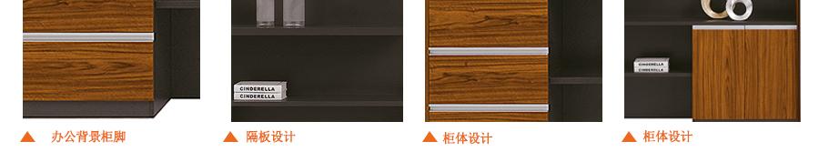 仿木纹系列办公背景柜细节