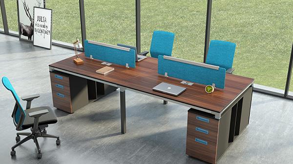 开放式四人屏风办公桌