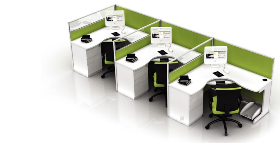 绿色环保三人转角员工屏风办公桌隔断工作卡位