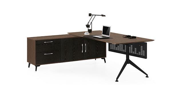 简约时尚单人钢木转角经理办公桌椅