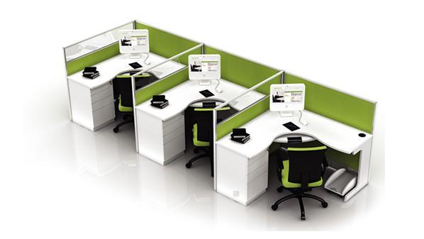 绿色环保三人转角员工屏风办公桌