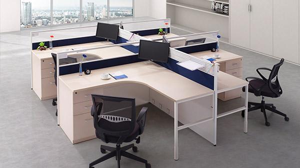 现代简约转角四人屏风隔断办公桌