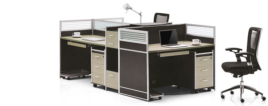 简约三人直型高屏风办公桌隔断工作卡位