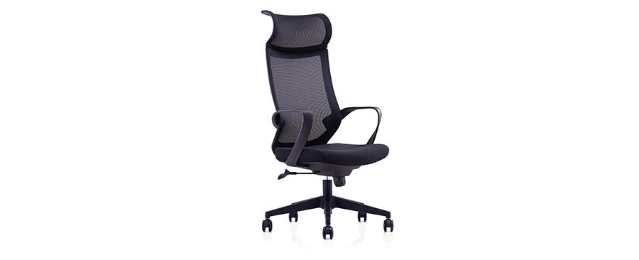 黑色可升降调节高度网布电脑椅子转椅带轮子