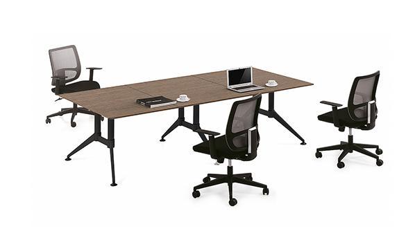现代简约长条6人板式钢架会议桌洽谈桌