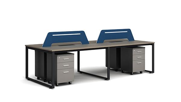 简约时尚开放式四人屏风隔断办公桌工作卡位带活动柜