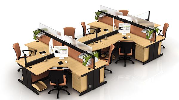 转角8人高屏风办公桌隔断工作卡位
