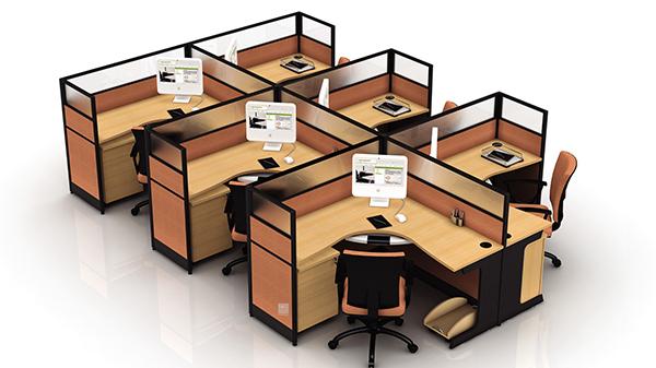 转角6人高屏风办公桌隔断工作卡位