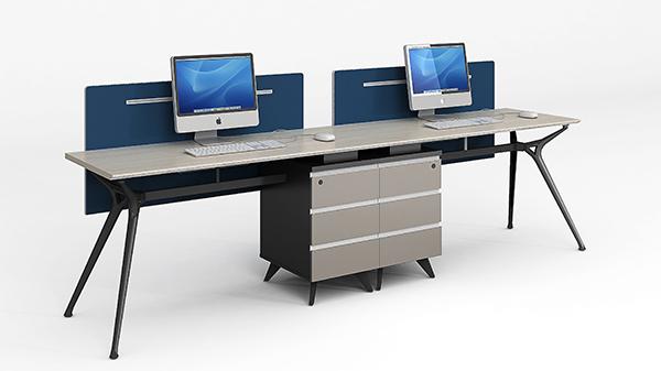 现代时尚简约开放式两人组合屏风隔断办公桌工作卡位