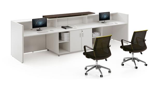 白色时尚简约双人前台办公桌椅