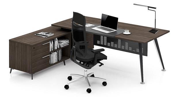 简约单人钢木经理办公桌椅