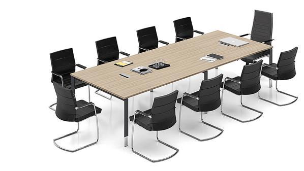 现代简约长条10人板式钢架会议桌厂家