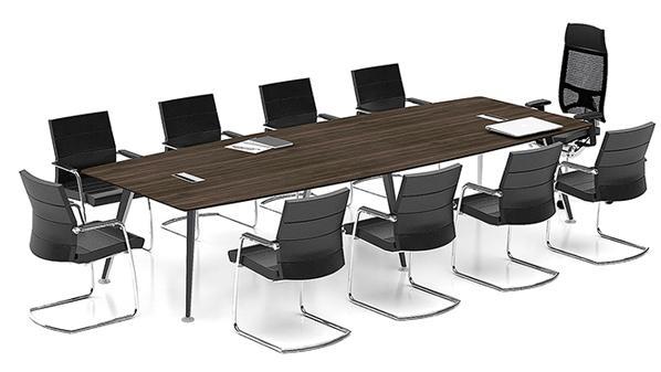 现代简约长条10人板式钢木会议桌培训桌
