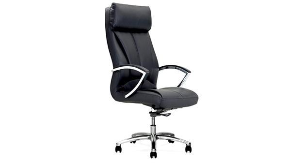 黑色升降调节高度真皮老板椅带轮子扶手厂家