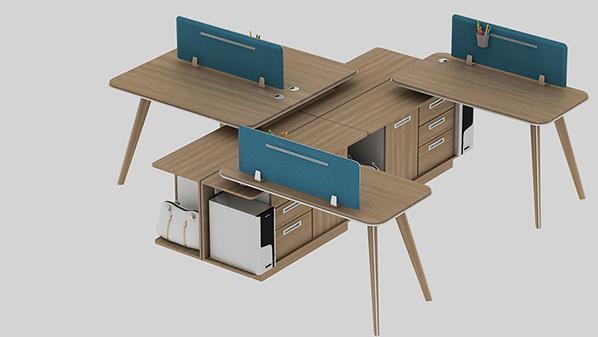 现代简约四人组合屏风办公桌