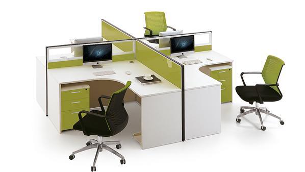 绿色环保十字型转角四人屏风办公桌