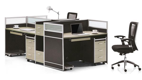 简约三人直型高屏风办公桌