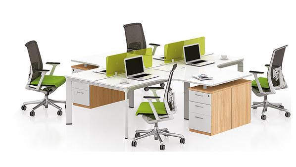 现代简约十字型四人屏风隔断办公桌