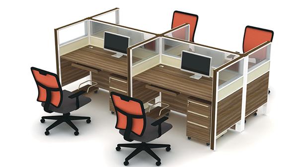 简约十字型四人高屏风办公桌隔断工作卡位