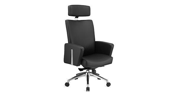 黑色升降调节高度真皮老板椅带轮子扶手